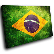 AB149 Framed Canvas Print Colourful Modern Abstract Wall Art - Brazil Flag Retro-Canvas Print-WhatsOnYourWall