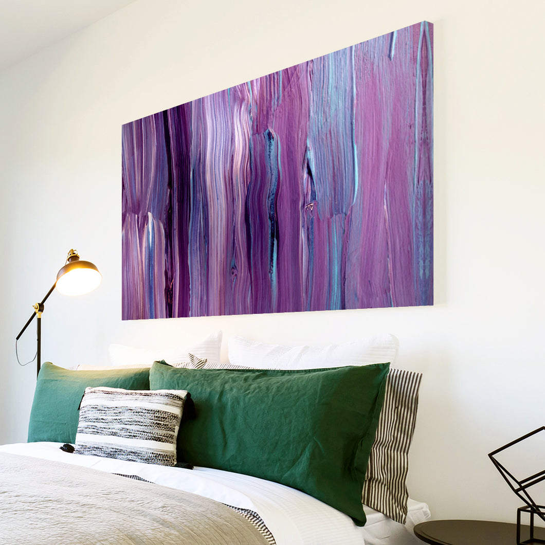 AB1501A Framed Canvas Print Colourful Modern Abstract Wall Art - purple paint drip-Canvas Print-WhatsOnYourWall