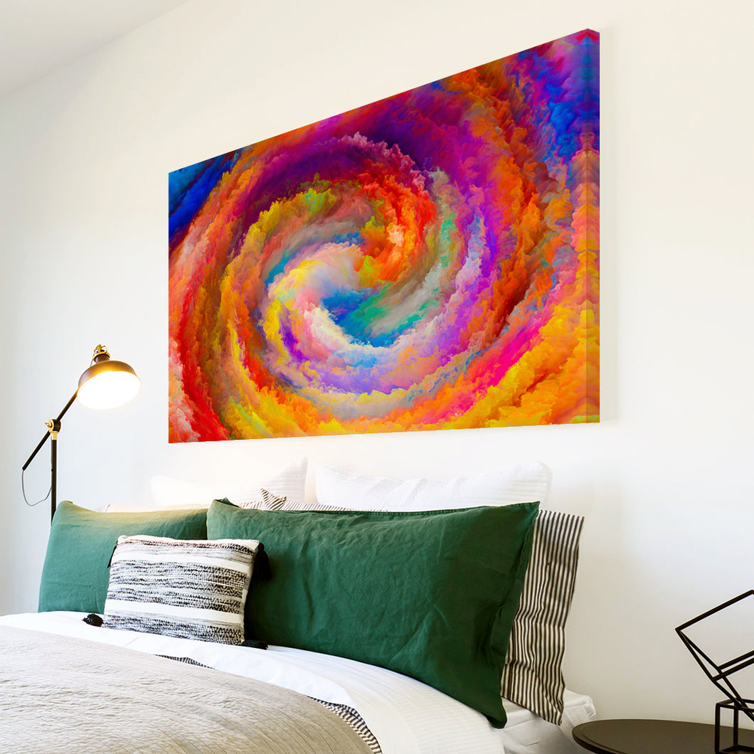 AB1502A Framed Canvas Print Colourful Modern Abstract Wall Art - orange swirl cloudy-Canvas Print-WhatsOnYourWall