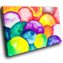 AB1503A Framed Canvas Print Colourful Modern Abstract Wall Art - purple yellow bubbles-Canvas Print-WhatsOnYourWall