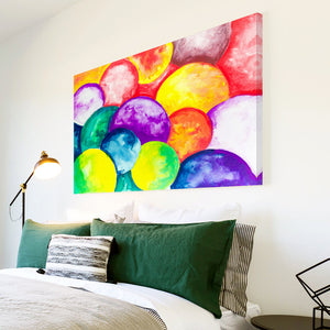 AB1503A Framed Canvas Print Colourful Modern Abstract Wall Art -  purple yellow bubbles - WhatsOnYourWall