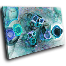 AB1505A Framed Canvas Print Colourful Modern Abstract Wall Art - Blue smoky effect-Canvas Print-WhatsOnYourWall