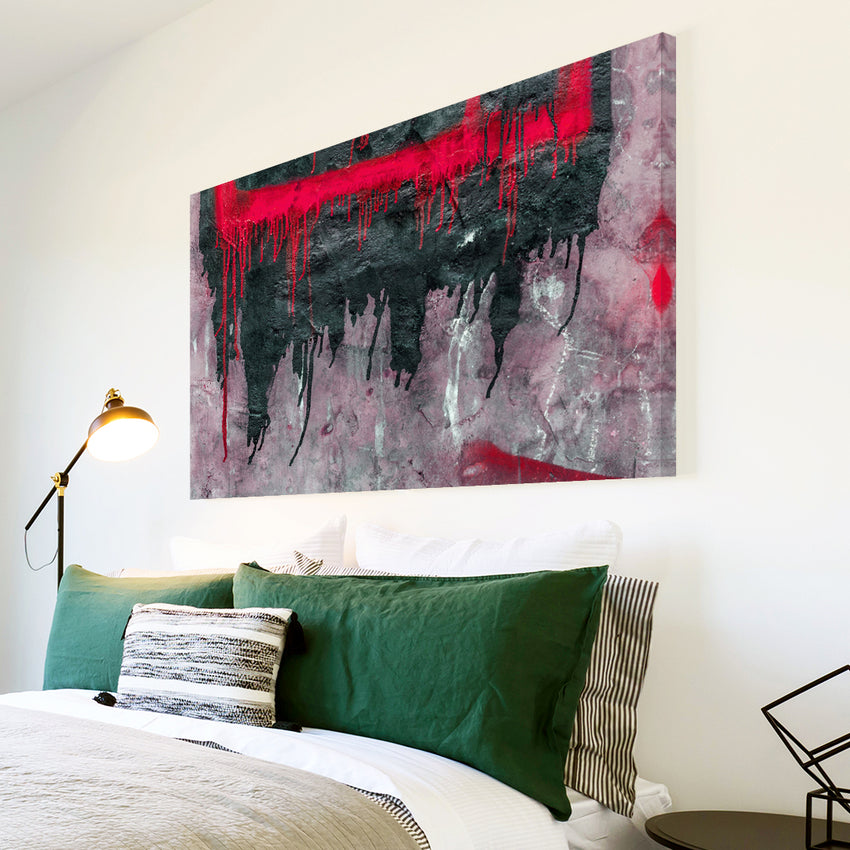 AB1507A Framed Canvas Print Colourful Modern Abstract Wall Art - red black paint effect-Canvas Print-WhatsOnYourWall