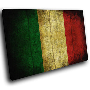 AB150 Framed Canvas Print Colourful Modern Abstract Wall Art - Italy Flag Retro Cool-Canvas Print-WhatsOnYourWall