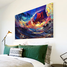 AB1510A Framed Canvas Print Colourful Modern Abstract Wall Art -  Blue sky paint effect - WhatsOnYourWall