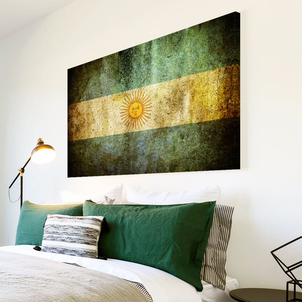 AB151 Framed Canvas Print Colourful Modern Abstract Wall Art - Argentina Flag Retro-Canvas Print-WhatsOnYourWall