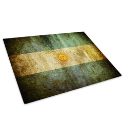 Argentina Flag Retro Glass Chopping Board Kitchen Worktop Saver Protector - AB151-Abstract Chopping Board-WhatsOnYourWall