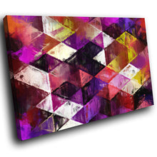 AB1520A Framed Canvas Print Colourful Modern Abstract Wall Art - purple geometric Diamond Pattern-Canvas Print-WhatsOnYourWall