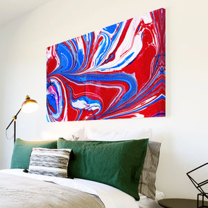 AB1521A Framed Canvas Print Colourful Modern Abstract Wall Art - red blue swirl-Canvas Print-WhatsOnYourWall