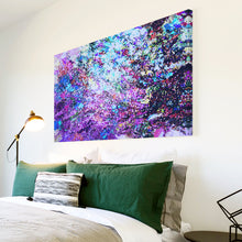 AB1524A Framed Canvas Print Colourful Modern Abstract Wall Art -  purple grunge splatter - WhatsOnYourWall