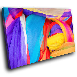 AB1525A Framed Canvas Print Colourful Modern Abstract Wall Art -  yellow blue purple fabric - WhatsOnYourWall