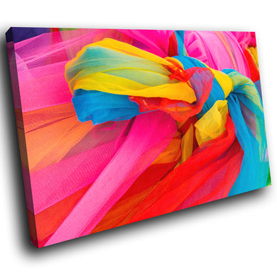 AB1526A Framed Canvas Print Colourful Modern Abstract Wall Art - pink yellow blue fabric-Canvas Print-WhatsOnYourWall