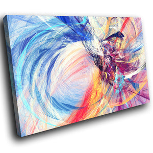 AB1527A Framed Canvas Print Colourful Modern Abstract Wall Art - blue pink paint swirl-Canvas Print-WhatsOnYourWall