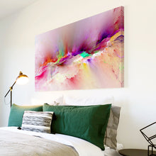 AB1528A Framed Canvas Print Colourful Modern Abstract Wall Art - purple pink running dye-Canvas Print-WhatsOnYourWall