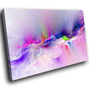 AB1529A Framed Canvas Print Colourful Modern Abstract Wall Art - blue purple running dye-Canvas Print-WhatsOnYourWall