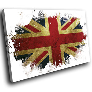 AB152 Framed Canvas Print Colourful Modern Abstract Wall Art -  Union Jack Uk Grunge