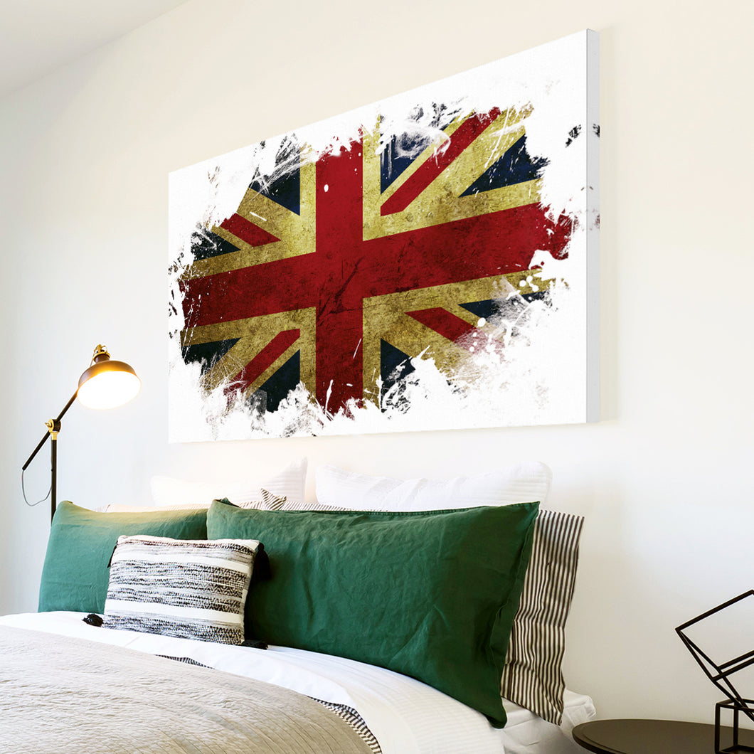 AB152 Framed Canvas Print Colourful Modern Abstract Wall Art - Union Jack Uk Grunge-Canvas Print-WhatsOnYourWall