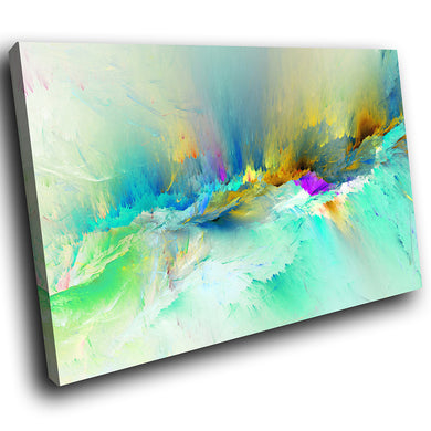 AB1531A Framed Canvas Print Colourful Modern Abstract Wall Art - teal yellow running dye-Canvas Print-WhatsOnYourWall