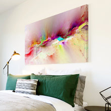 AB1532A Framed Canvas Print Colourful Modern Abstract Wall Art - Pink Blue running dye-Canvas Print-WhatsOnYourWall