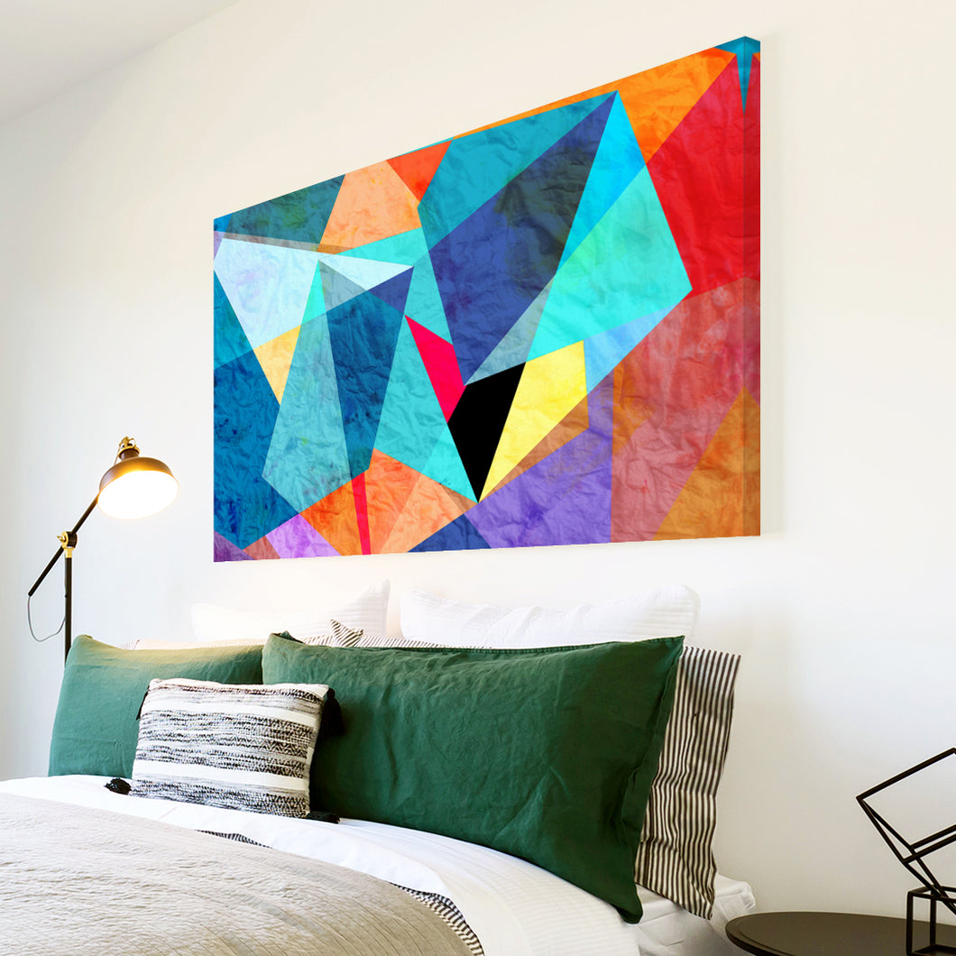 AB1533A Framed Canvas Print Colourful Modern Abstract Wall Art - contemporary blue geometry-Canvas Print-WhatsOnYourWall