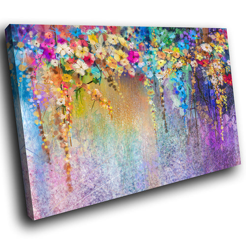 AB1535A Framed Canvas Print Colourful Modern Abstract Wall Art - floral grunge purple-Canvas Print-WhatsOnYourWall