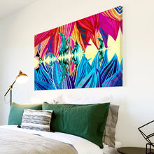 AB1536A Framed Canvas Print Colourful Modern Abstract Wall Art - pink blue floral-Canvas Print-WhatsOnYourWall