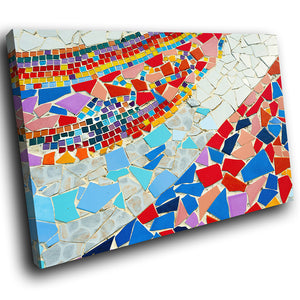 AB1537A Framed Canvas Print Colourful Modern Abstract Wall Art - blue red tiles-Canvas Print-WhatsOnYourWall