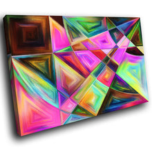 AB1538A Framed Canvas Print Colourful Modern Abstract Wall Art - pink green shapes-Canvas Print-WhatsOnYourWall