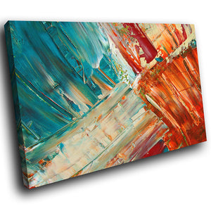 AB1539A Framed Canvas Print Colourful Modern Abstract Wall Art -  paint effect blue orange - WhatsOnYourWall