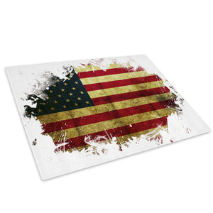 American Flag USA Grunge Glass Chopping Board Kitchen Worktop Saver Protector - AB153-Abstract Chopping Board-WhatsOnYourWall