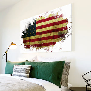 AB153 Framed Canvas Print Colourful Modern Abstract Wall Art - American Flag Usa Grunge-Canvas Print-WhatsOnYourWall