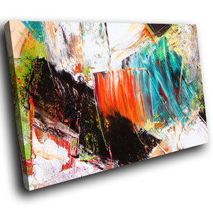 AB1540A Framed Canvas Print Colourful Modern Abstract Wall Art - black orange blue paint-Canvas Print-WhatsOnYourWall