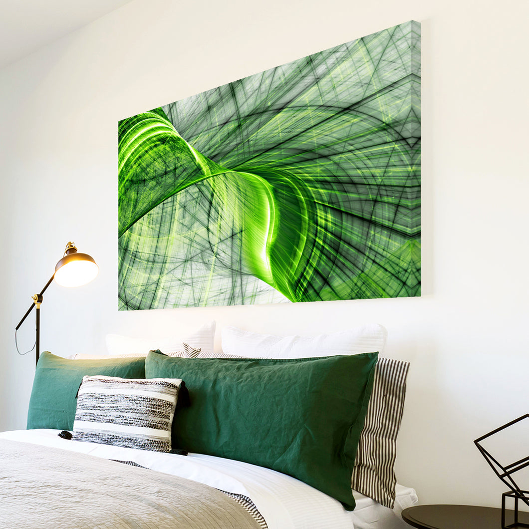AB1545A Framed Canvas Print Colourful Modern Abstract Wall Art - green swirl contemporary-Canvas Print-WhatsOnYourWall