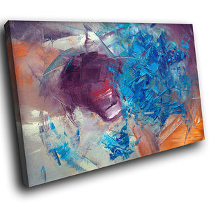 AB1549A Framed Canvas Print Colourful Modern Abstract Wall Art - blue orange paint effect-Canvas Print-WhatsOnYourWall