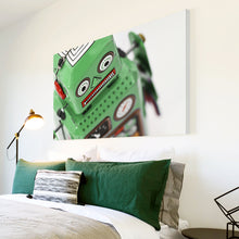 AB154 Framed Canvas Print Colourful Modern Abstract Wall Art - Retro Green Toy Robot-Canvas Print-WhatsOnYourWall