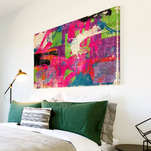 AB1551A Framed Canvas Print Colourful Modern Abstract Wall Art -  pink green blue graffiti - WhatsOnYourWall