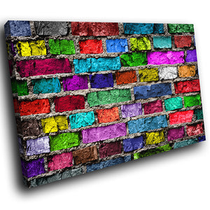 AB1552A Framed Canvas Print Colourful Modern Abstract Wall Art -  multicolour brick - WhatsOnYourWall