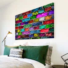 AB1552A Framed Canvas Print Colourful Modern Abstract Wall Art - multicolour brick-Canvas Print-WhatsOnYourWall