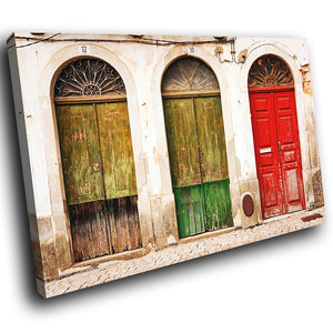 AB1553A Framed Canvas Print Colourful Modern Abstract Wall Art -  red green old door - WhatsOnYourWall