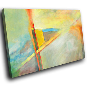 AB1554A Framed Canvas Print Colourful Modern Abstract Wall Art - contemporary yellow line-Canvas Print-WhatsOnYourWall