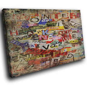 AB1555A Framed Canvas Print Colourful Modern Abstract Wall Art - newspaper magazine cutout-Canvas Print-WhatsOnYourWall