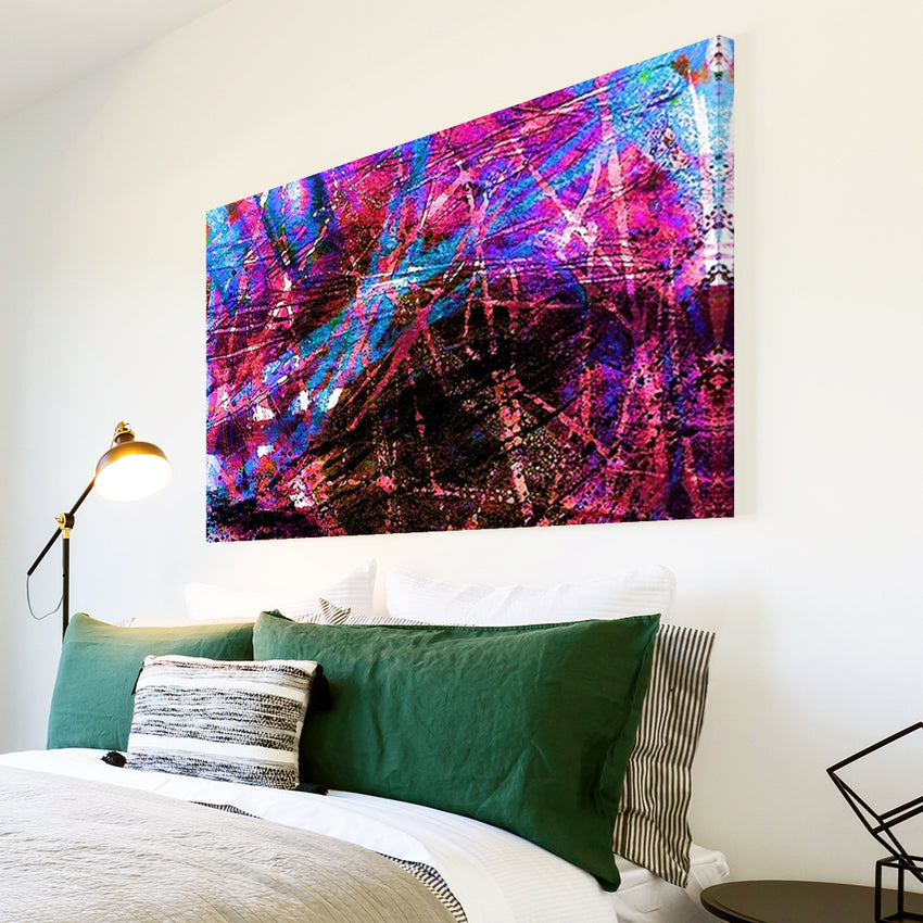 AB1558A Framed Canvas Print Colourful Modern Abstract Wall Art - urban pink graffiti blue-Canvas Print-WhatsOnYourWall