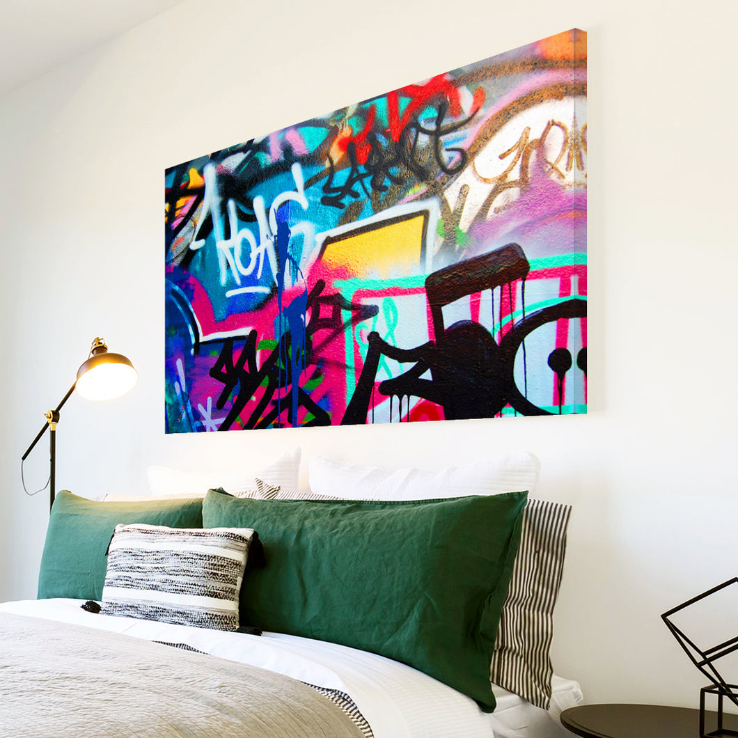 AB155 Framed Canvas Print Colourful Modern Abstract Wall Art - Blue Pink Graffiti-Canvas Print-WhatsOnYourWall