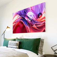 AB1560A Framed Canvas Print Colourful Modern Abstract Wall Art - purple pink liquid swirl-Canvas Print-WhatsOnYourWall