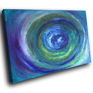 AB1563A Framed Canvas Print Colourful Modern Abstract Wall Art - blue paint effect swirl-Canvas Print-WhatsOnYourWall