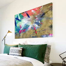 AB1564A Framed Canvas Print Colourful Modern Abstract Wall Art - blue urban grunge paint-Canvas Print-WhatsOnYourWall