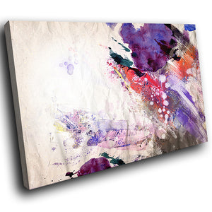 AB1567A Framed Canvas Print Colourful Modern Abstract Wall Art - urban purple paint effect-Canvas Print-WhatsOnYourWall