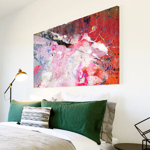 AB1568A Framed Canvas Print Colourful Modern Abstract Wall Art - urban pink paint effect-Canvas Print-WhatsOnYourWall