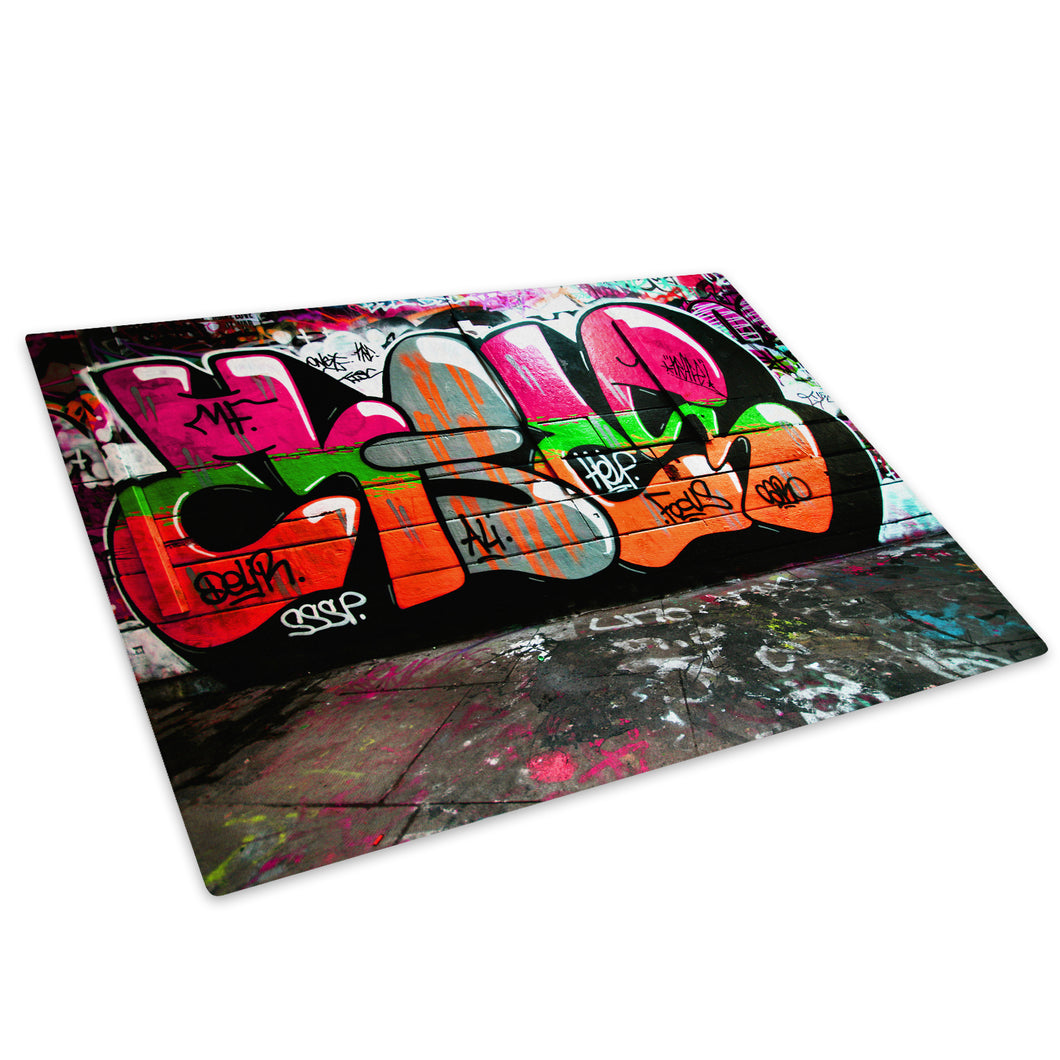 Orange Pink Graffiti Glass Chopping Board Kitchen Worktop Saver Protector - AB156-Abstract Chopping Board-WhatsOnYourWall