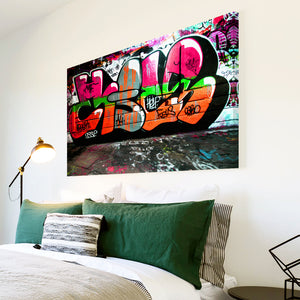 AB156 Framed Canvas Print Colourful Modern Abstract Wall Art - Orange Pink Graffiti-Canvas Print-WhatsOnYourWall